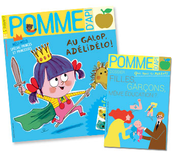 """Filles-garçons, une même éducation ?"", supplément pour les parents du magazine Pomme d'Api, mars 2018. Texte : Anne Bideault. Illustrations : Séverine Assous."