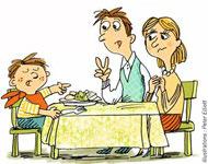 Les enfants à table ! Et si on faisait baisser la pression ? - Supplément parents Pomme d'Api - Février 2014 - Illustrations Peter Elliot
