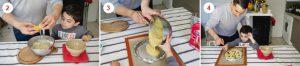Dans un saladier, mélangez les blancs d'œufs avec les poudres (amande, sucre, farine), puis ajoutez le beurre noisette en plusieurs fois. Quand le mélange est homogène, versez-le dans un moule puis parsemez la pâte de myrtilles (2-3-4).