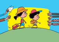 Vacances sans papa maman - Comment se préparer à la séparation - Supplément pour les parents Pomme d'Api - Août 2014 - Illustrations Pierre Fouillet.