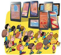 Enfants face aux écrans, supplément pour les parents, Pomme d'Api, mars 2015. Illustration Pierre Fouillet