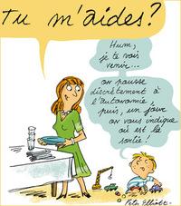 """Anne Bideault, """"Pomme d'Api pour les parents"""", """"Ils sont petits, mais assez grands pour participer à la vie de la maison"""", supplément du numéro 590 de Pomme d'Api, avril 2015. Illustrations Peter Elliott."""