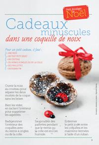 Cadeaux minuscules dans une coquille de noix - Conception, réalisation et photos : Raphaële Vidaling - Supplément pour les parents au n° 598 de Pomme d'Api, décembre 2015