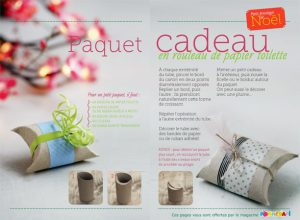 Paquet cadeau en rouleau de papier toilette - Conception, réalisation et photos : Raphaële Vidaling - Supplément pour les parents au n° 598 de Pomme d'Api, décembre 2015