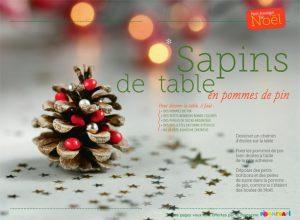 Sapins de table en pommes de pin - Conception, réalisation et photos : Raphaële Vidaling - Supplément pour les parents au n° 598 de Pomme d'Api, décembre 2015