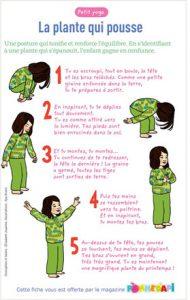 """Téléchargez """"Le petit yoga : la plante qui pousse"""". Conception et textes : Élisabeth Jouanne. Illustrations : Ilya Green. Supplément pour les parents, Pomme d'api, avril 2016."""
