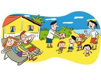 """""""Vacances en tribu, kit de survie"""", supplément au n°606 de Pomme d'Api, août 2016. Texte : Anne Bideault, illustrations Pierre Fouillet"""