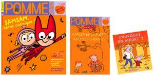 """Couverture du numéro de novembre 2016 du magazine Pomme d'Api ; couverture du supplément pour les parents """"Parler de la mort avec les enfants"""" et du livret détachable """"Pourquoi on meurt ?"""" à destination des enfants."""