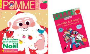 Couvertures du magazine Pomme d'Api et du supplément pour les parents, numéro de décembre actuellement en vente en kiosque