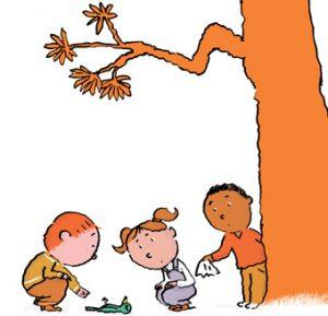 """""""Parler de la mort avec les enfants"""", article paru dans le supplément pour les parents du magazine Pomme d'Api, novembre 2016. Texte : Anne Bideault. Illustrations : Pascal Lemaître."""