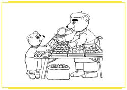 Petit Ours Brun achète des fruits au vendeur