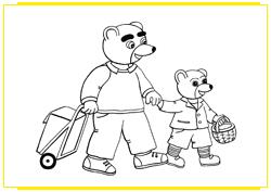Petit Ours Brun et son papa marchent avec leurs paniers de courses