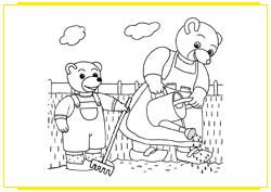 Petit Ours Brun jardine avec sa maman