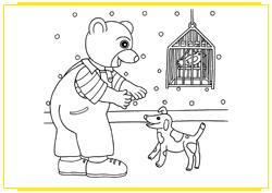 Petit Ours Brun joue avec son chien et son oiseau