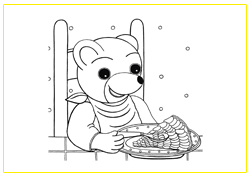 Petit Ours Brun mange une tarte