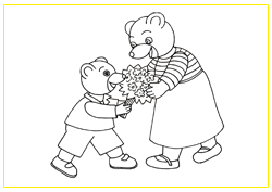 Miniature Petit Ours Brun Offre Un Bouquet De Fleurs A Sa