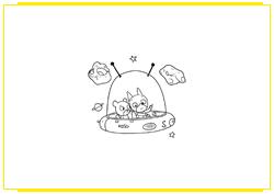 SamSam et Nounours dans leur soucoupe