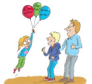 """Image extraite de l'article """"La confiance en soi, un atout pour bien grandir"""", supplément pour les parents du magazine Pomme d'Api, février 2017. Texte : Anne Bideault. Illustrations : Henri Fellner."""