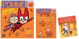 """Couverture du numéro de novembre 2016 du magazine Pomme d'Api; couverture du supplément pour les parents """"Parler de la mort avec les enfants"""" et du livret détachable """"Pourquoi on meurt?"""" à destination des enfants."""