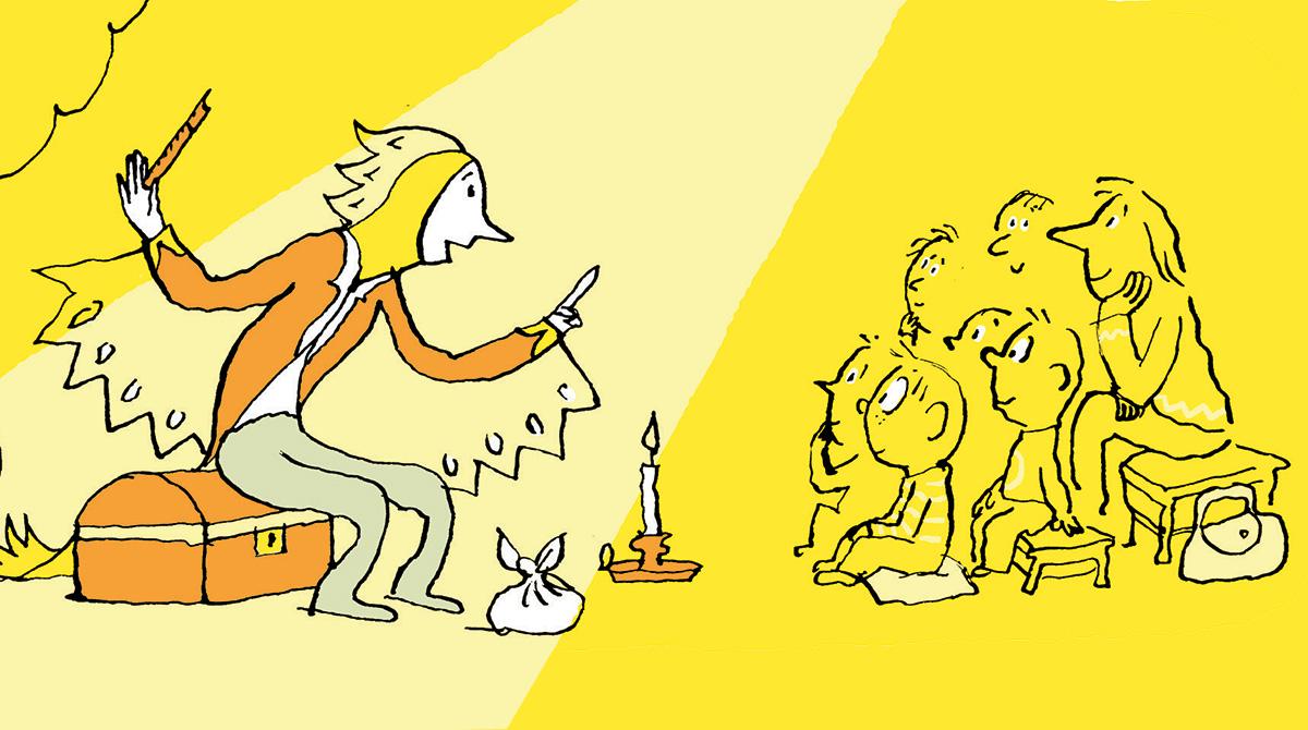 """""""Un spectacle pour de vrai"""", supplément pour les parents du magazine Pomme d'Api du mois de juin 2017. Illustration : Pascal Lemaître - Texte : Anne Bideault."""