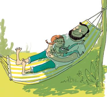 """""""Le grand chamboule-tout des vacances"""", supplément pour les parents du magazine Pomme d'Api, août, 2017. Texte : Anne Bideault. Dossier illustré par Marie de Monti."""