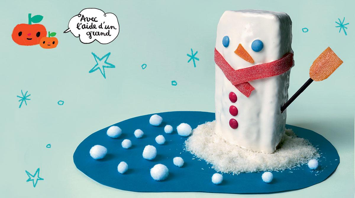 """Recette d'hiver : """"Le gâteau bonhomme"""", Pomme d'Api n° 622, décembre 2017. Réalisation, stylisme et photo : Hélo-Ita."""
