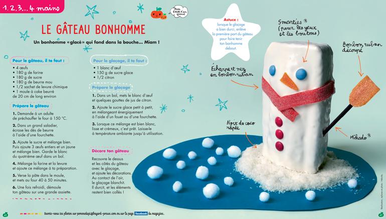 """Téléchargez la recette d'hiver """"Le gâteau bonhomme"""", Pomme d'Api n° 622, décembre 2017. Réalisation, stylisme et photo : Hélo-Ita."""
