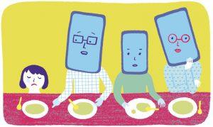 """""""Ces écrans trop attirants"""", supplément pour les parents, Pomme d'api, n°623. Texte d'Anne Bideault, illustrations de Mirjana Farkas."""