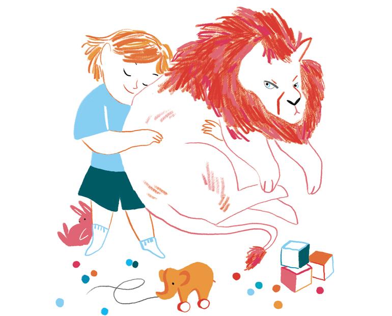 """""""L'enfant et l'animal : une complicité naturelle"""", supplément pour les parents du magazine Pomme d'Api, n° 627, mai 2018. Texte : Anne Bideault - Illustration : Kei Lam."""