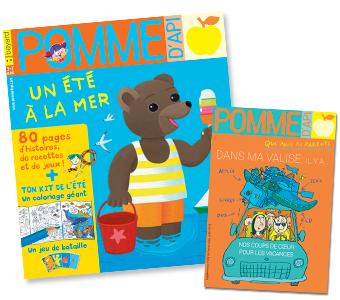Couverture du magazine Pomme d'Api n°629 (juillet 2018) et son supplément pour les parents