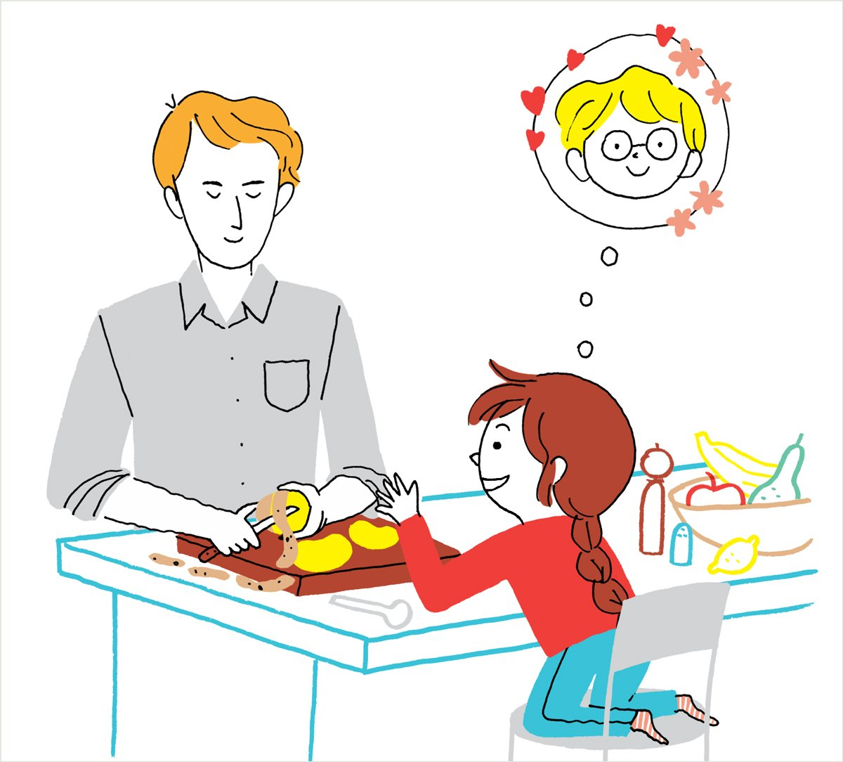 """""""L'amour à hauteur d'enfant"""", supplément pour les parents du magazine Pomme d'Api, n° 628, juin 2018. Texte : Anne Bideault. Illustration : Aki."""