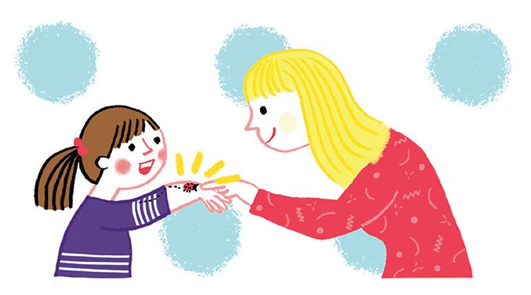 """""""Nous avons tous besoin de nature"""", supplément pour les parents du magazine Pomme d'Api n° 630, août 2018. Texte : Anne Bideault, illustrations : Ilaria Faccioli."""