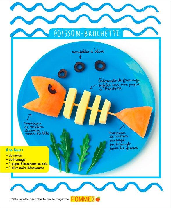 """Téléchargez la recette du """"Poisson-brochette"""" extraite de """"Un apéro au bord de l'eau"""", 4 recettes à faire à quatre mains avec Pomme d'Api n°629, juillet 2018. Conception, réalisation, stylisme et photo : Hélo-Ita."""