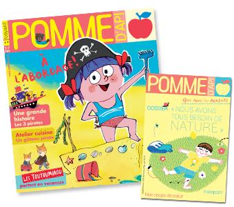 Couverture du magazine Pomme d'Api n°630, août 2018, et son supplément pour les parents