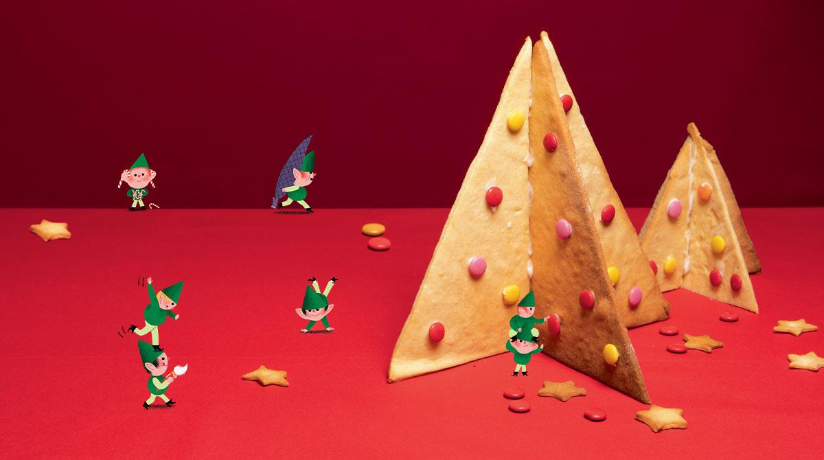 """""""Un sapin à croquer"""", Pomme d'Api n°634, décembre 2018. Idée et réalisation : Marie-Pascale Nicolas-Cocagne. Illustrations : Amélie Falière. Photo : Benoît Teillet."""