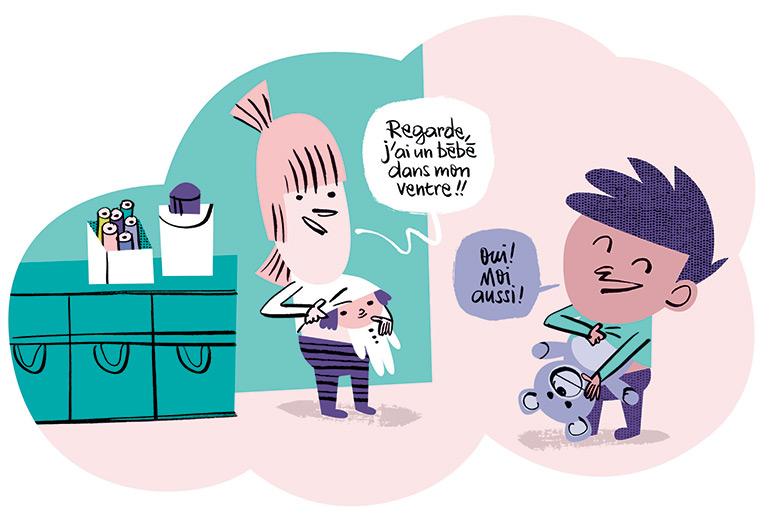 """""""Comment fait-on les bébés et autres questions gênantes"""", Pomme d'Api n°637, mars 2019. Texte : Anne Bideault. Illustrations : Jean-Louis Cornalba."""