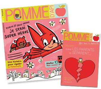 Couverture du magazine Pomme d'Api n°639, mai 2019, et son supplément pour les parents.