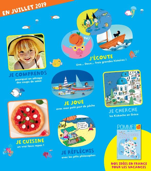Sommaire Pomme d'Api, juillet 2019, n° 641. Illustration de la couverture : Danièle Bour