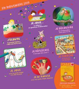 Sommaire du magazine Pomme d'Api et son supplément pour les parents, n°645, novembre 2019