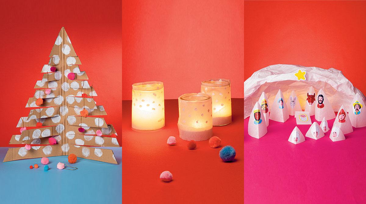 """""""3 bricos de Noël à faire ensemble"""", supplément pour les parents du magazine Pomme d'Api n°646, décembre 2019."""
