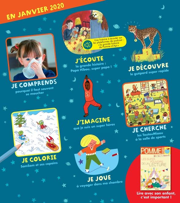 Sommaire du magazine Pomme d'Api, n°647, janvier2020