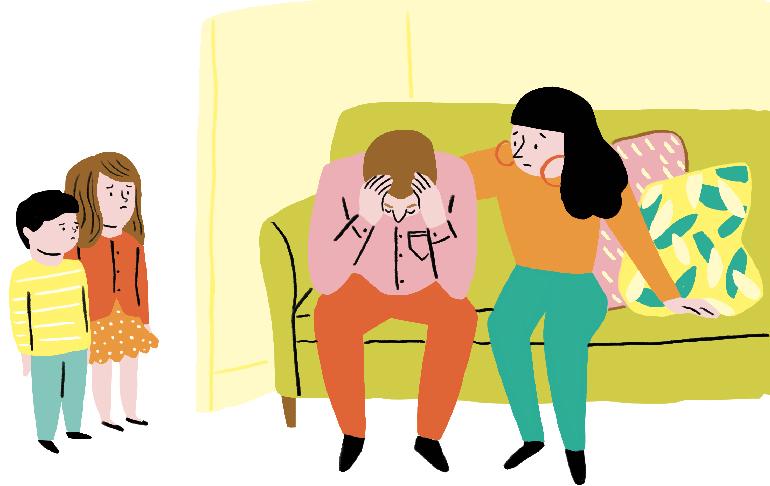 """""""Comment parler aux enfants des épreuves de la vie ?"""", supplément pour les parents du magazine Pomme d'Api n°648, février 2020. Texte : Anne Bideault. Illustrations : Kei Lam."""