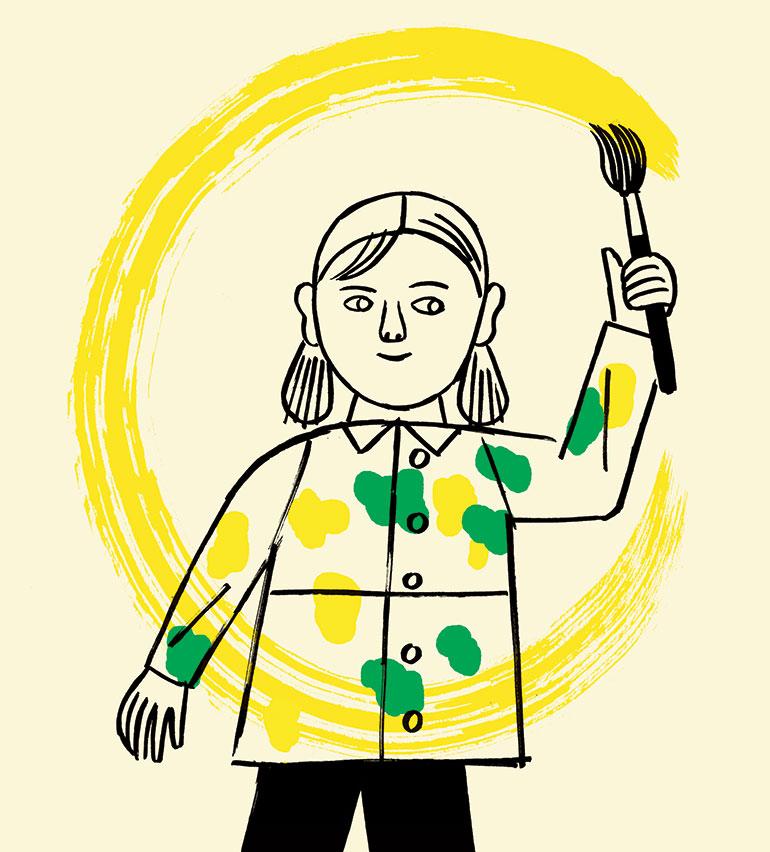 """""""Peindre, un jeu d'enfant"""", Pomme d'Api n°649, mars 2020. Texte: Anne Bideault. Illustrations: Amélie Fontaine."""