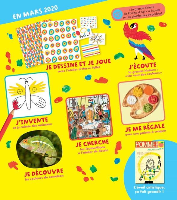 Au sommaire du magazine Pomme d'Api et son supplément pour les parents, n°649, mars 2020