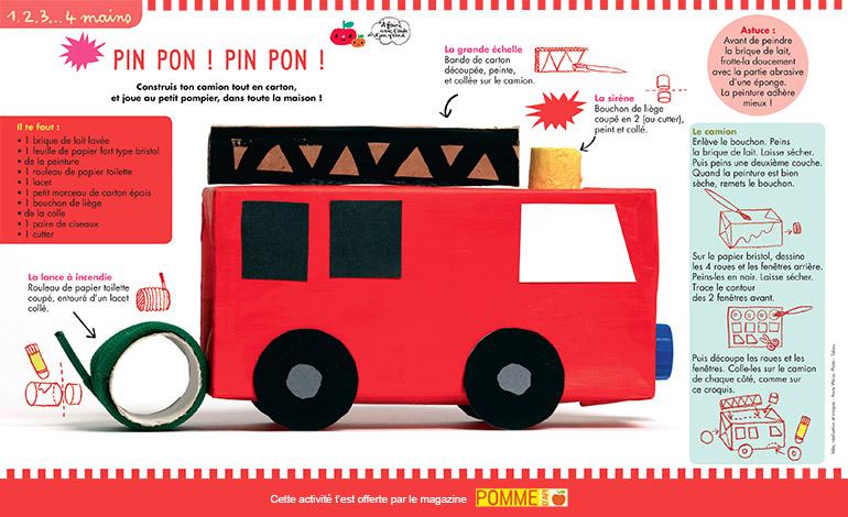 Bricolage : camion de pompier Pomme d'Api n°639 mai 2019