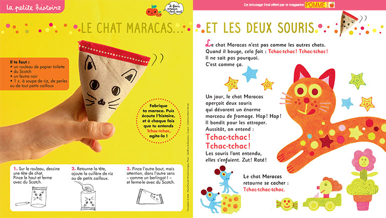 """""""Le chat Maracas et les deux souris"""", Pomme d'Api n°652. Conception et texte : Marie-Pascale Nicolas-Cocagne. Photo : Geoffroy de Boismenu. Croquis : Catherine Marie Vernier."""