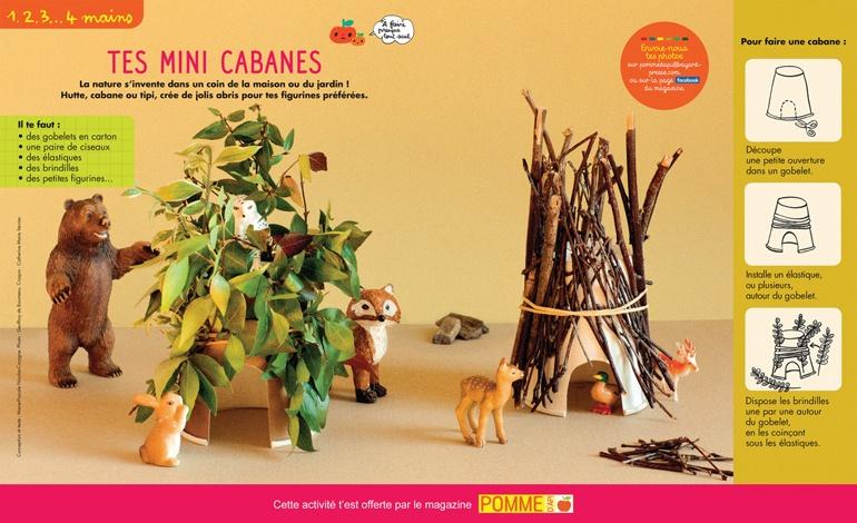 """""""Mini-cabanes"""" Pomme d'Api n°642, août 2019. Conception et texte : Marie-Pascale Nicolas-Cocagne. Photo : Geoffroy de Boismenu. Croquis : Catherine Marie Vernier."""