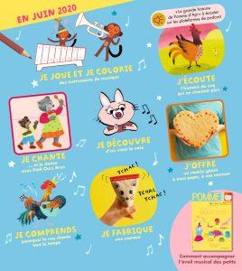 Sommaire du magazine Pomme d'Api et son supplément pour les parents, n°652, juin 2020