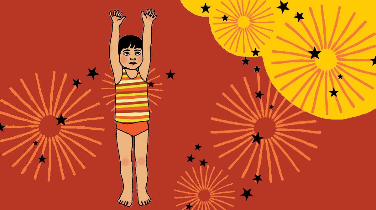 """""""Et si on se mettait ensemble au yoga ?, supplément pour les parents du magazine Pomme d'Api n°568, juin 2013. """" Conception : Elisabeth Jouanne. Illustrations : Ilya Green."""