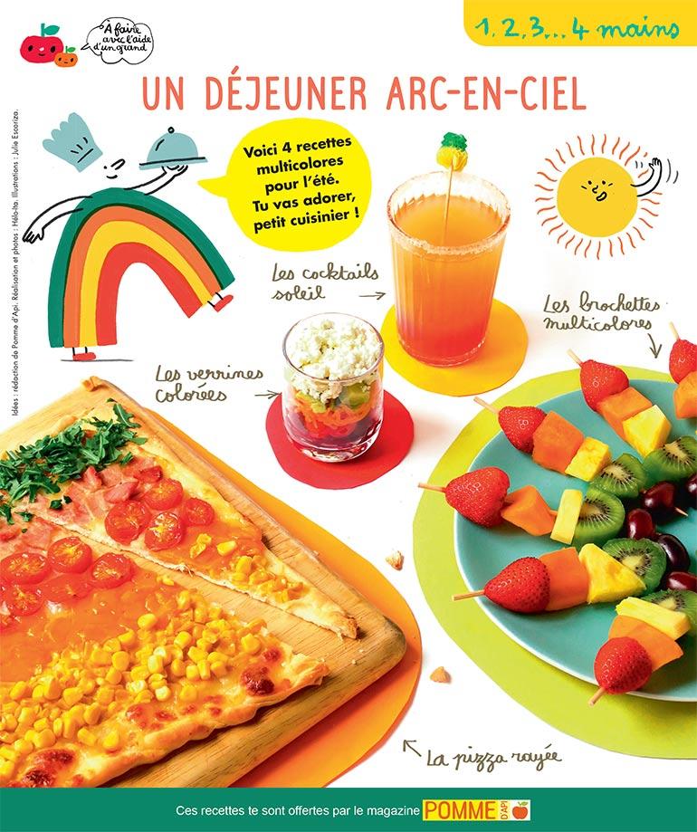 """""""Un déjeuner arc-en-ciel"""", Pomme d'Api n°653, juillet 2020. Idées : rédaction de Pomme d'Api. Réalisation et photos : Hélo-Ita. Illustrations : Julie Escoriza."""